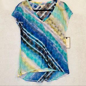 Dana Buchman Sz Medium Knit Top Blue Yellow Stripe